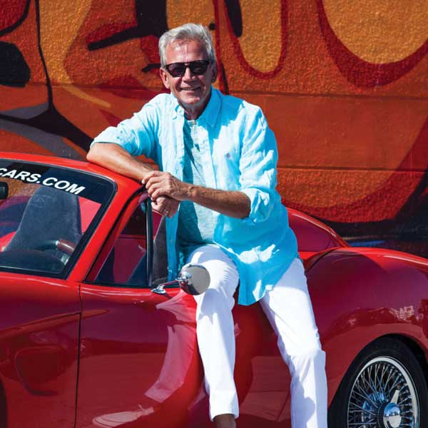 Bruce Dietzen, creator of the Renew Sports Car, a sleek hemp-bodied convertible roadster powered by plant-based bio fuel.