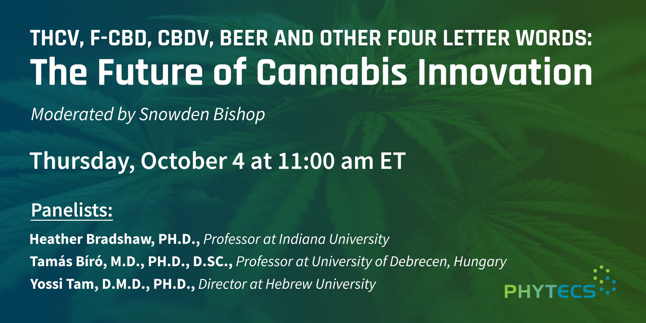 Phytecs presents The Future of Cannabis Webinar Oct 4 11 a.m. ET